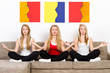 three meditating women
