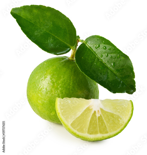 Lime with leaf on a white background.