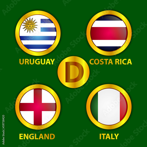 Fifa World Cup Brazil Circle Gold  Flags Group D Vector