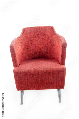 Red armchair isolated on white background.