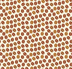 Coffee beans seamless pattern on theLlight background