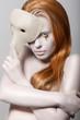 Woman with Carnival Venetian Mask. Masquerade. Golden Teardrops