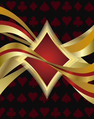 Poker diamond card, vector illustration