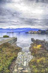 Lake Maggiore with Isole Borromee winter time color image