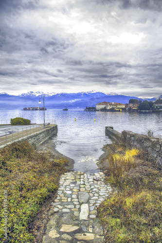 Lake Maggiore with Isole Borromee winter time color image