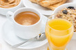 freshly brewed espresso, orange juice and muesli for breakfast