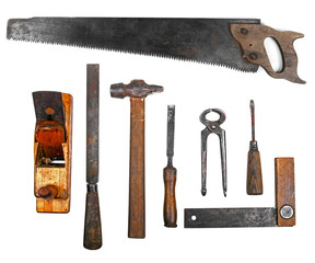 old work tools isolated on white background