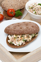 sandwich of rye bread with tuna and homemade cheese
