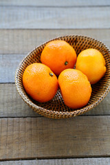 whole tangerines in basket