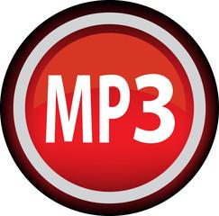 Круглый векторный значок с надписью MP3