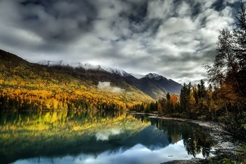 Time Lapse of Kenai River in Autumnal Setting