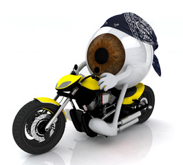human eye with arms and legs on the motorbike