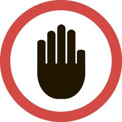 Круглая векторная иконка с изображением руки