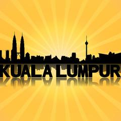 Kuala Lumpur skyline reflected with sunburst illustration