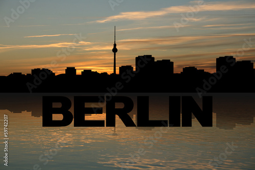 Berlin skyline reflected with text and sunset illustration
