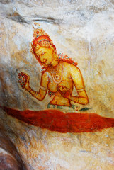 ancient fresco on mount Sigiriya, Sri Lanka