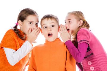 Girls tells a secret to the boyfriend