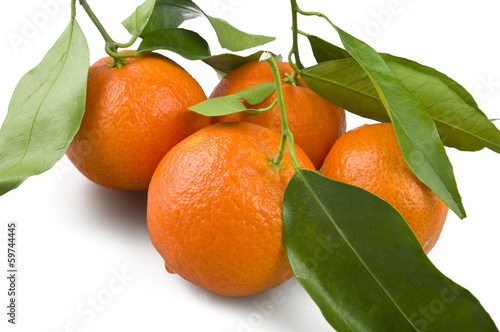Orange mandarin or tangerine fruit with leaves