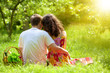Young couple sitting back to camera on picnic blanket