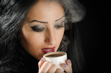 Attractive Woman Holding Hot Coffee Cup