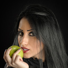 Seductive Woman Holding Green Apple