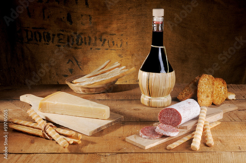 cheese salami and wine