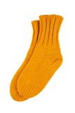 Yellow wool socks isolated