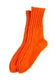 Orange wool socks isolated