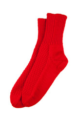 Red wool socks isolated