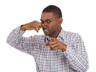 Man pinches nose, pointing at you, something stinks,bad smell