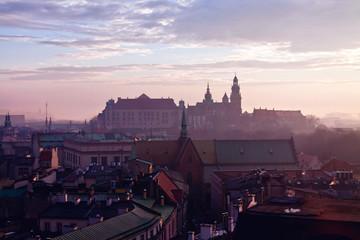 Wawel hill with castle in Krakow
