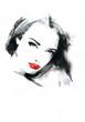 Beautiful woman.  Hand painted fashion illustration