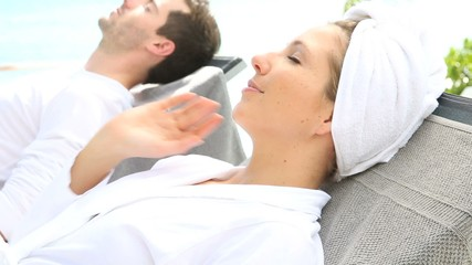 Couple relaxing in luxury spa resort