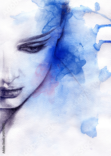Beautiful woman.  Hand painted fashion illustration - 59748011