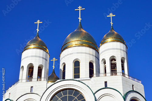 Domes of Russian Orthodox Church. Kaliningrad, Russia