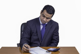 businessman reviewing financial statements