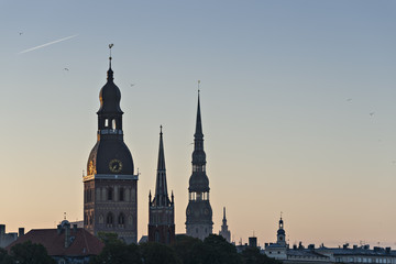 Medieval churches in old Riga at dawn, Latvia, Europe