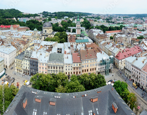 Panorama of Lvov old town with market square,Ukraine