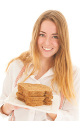 Woman with freshbrown bread for diet