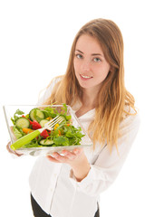 Woman with fresh salad for diet