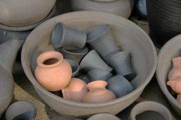 Clay pottery.
