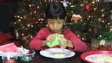 Asian Girl Adds Icing To Christmas Cookie