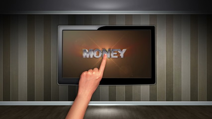Money Text in Monitor, Open with Hand Click