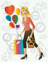 Beautiful blond woman with gift and balloons.