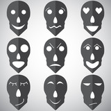 Vector set of emotions mask