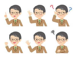 シニア ビジネスマン いろいろな表情