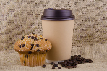 Coffee and chocolate chips muffin