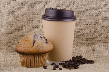 Coffee and blueberry muffin