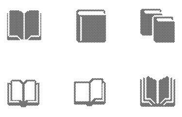 Book icons Pixels vector