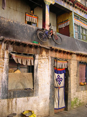 Lhasa, bicycle parking in a typical house in Barkhor Street